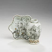 CHINESE EXPORT PORCELAIN RELIGIOUS-SUBJECT 'CRUCIFIXION' TEAPOT STAND AND TEA CADDY, CIRCA 1745.