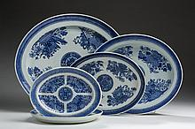 FIVE CHINESE EXPORT PORCELAIN BLUE 'FITZHUGH' OVAL PLATTERS, NINETEENTH CENTURY.