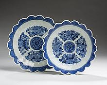 TWO CHINESE EXPORT PORCELAIN BLUE 'FITZHUGH' LOBED DISHES, NINETEENTH CENTURY.