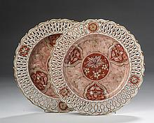 PAIR OF CHINESE EXPORT PORCELAIN DUTCH-DECORATED RETICULATED PLATES, 1740-60.