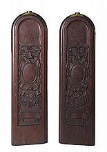 PAIR OF CARVED MAHOGANY AND BRASS SHIP'S GANGWAY BOARDS, NINETEENTH CENTURY.