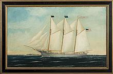 WILLIAM PIERCE STUBBS (AMERICAN 1842-1909). THE THREE-MASTED SCHOONER
