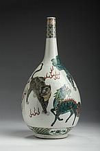 CHINESE EXPORT PORCELAIN FAMILLE VERTE 'KYLIN, TIGER AND SHISHI' BOTTLE VASE, KANGXI PERIOD.