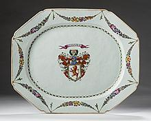 CHINESE EXPORT PORCELAIN ARMORIAL PLATTER WITH THE ARMS OF DUNDAS, CIRCA 1775.