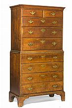 NEW ENGLAND CHIPPENDALE FIGURED MAPLE CHEST ON CHEST, PROBABLY SOUTHEASTERN MASSACHUSETTES.
