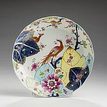 RARE CHINESE EXPORT PORCELAIN 'TOBACCO LEAF' DEEP DISH, 1770-85.