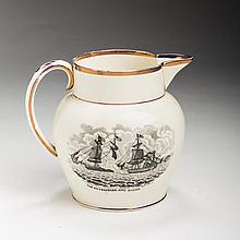 'THE ENTERPRIZE AND BOXER' AND 'THE CONSTITUTION TAKING THE CYANE AND LEVANT,' STAFFORDSHIRE CREAMWARE BLACK TRANSFER-PRINTED AND PURPLE LUSTRE-BANDED JUG, 1813-20.