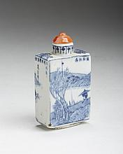 CHINESE PORCELAIN BLUE AND WHITE RECTANGULAR SNUFF BOTTLE WITH HARDSTONE COVER.