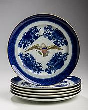 SET OF SIX MOTTAHEDEH VISTA ALEGRE PORCELAIN CHINESE EXPORT STYLE EAGLE-DECORATED 'BLUE FITZHUGH' PLATES, TWENTIETH CENTURY.