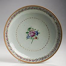CHINESE EXPORT PORCELAIN 'MANDARIN PALETTE' SHALLOW BOWL FOR THE PERSIAN MARKET, 1800-40.