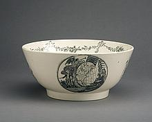 'THOMAS JEFFERSON, PRESIDENT OF THE UNITED STATES,' ENGLISH CREAMWARE BLACK TRANSFER-PRINTED BOWL, PROBABLY HERCULANEUM, LIVERPOOL, CIRCA 1801-07.