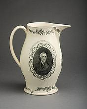 'THOMAS JEFFERSON, PRESIDENT OF THE UNITED STATES,' ENGLISH CREAMWARE BLACK TRANSFER-PRINTED JUG, PROBABLY HERCULANEUM POTTERY, LIVERPOOL, CIRCA 1801-09.