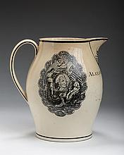 'AMERICAN EAGLE,' 'AMERICAN SHIP' AND 'WASHINGTON,' ENGLISH CREAMWARE BLACK TRANSFER-PRINTED PRESENTATION JUG, CIRCA 1798.
