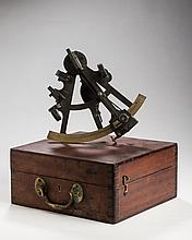 CASED SEXTANT, THE BRASS SCALE ENGRAVED