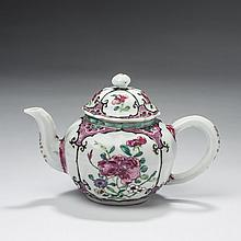 CHINESE EXPORT PORCELAIN FAMILLE ROSE MOLDED SMALL TEAPOT AND COVER, MID-EIGHTEENTH CENTURY.