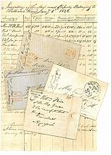 WILLIAM RICE, MERCHANT AND PRIVATEER OF KITTERY, MAINE AND PORTSMOUTH, NEW HAMPSHIRE. GROUP OF BUSINESS DOCUMENTS, CORRESPONDENCE AND PERSONAL LETTERS, 1794-1849.