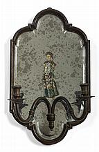PAIR OF MIRRORED TWO-LIGHT SCONCES DECORATED WITH CHINESE FIGURES.
