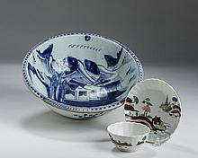 ENGLISH PORCELAIN 'ISLAND' PATTERN FLUTED TEABOWL AND SAUCER, 1750-65.