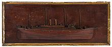 BUILDER'S HALF-HULL MODEL OF A FOUR-MASTED SAIL AND STEAMSHIP, CIRCA 1890.