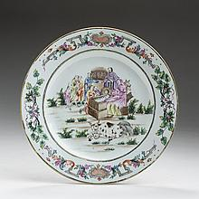 RARE CHINESE EXPORT PORCELAIN FAMILLE ROSE RELIGIOUS-SUBJECT 'NATIVITY' PLATE, CIRCA 1740.