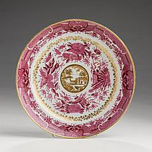RARE CHINESE EXPORT PORCELAIN 'ROSE FITZHUGH' SIDE PLATE, CIRCA 1825.