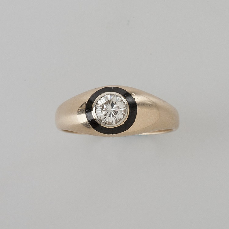 MEN'S 14K GOLD DIAMOND RING.