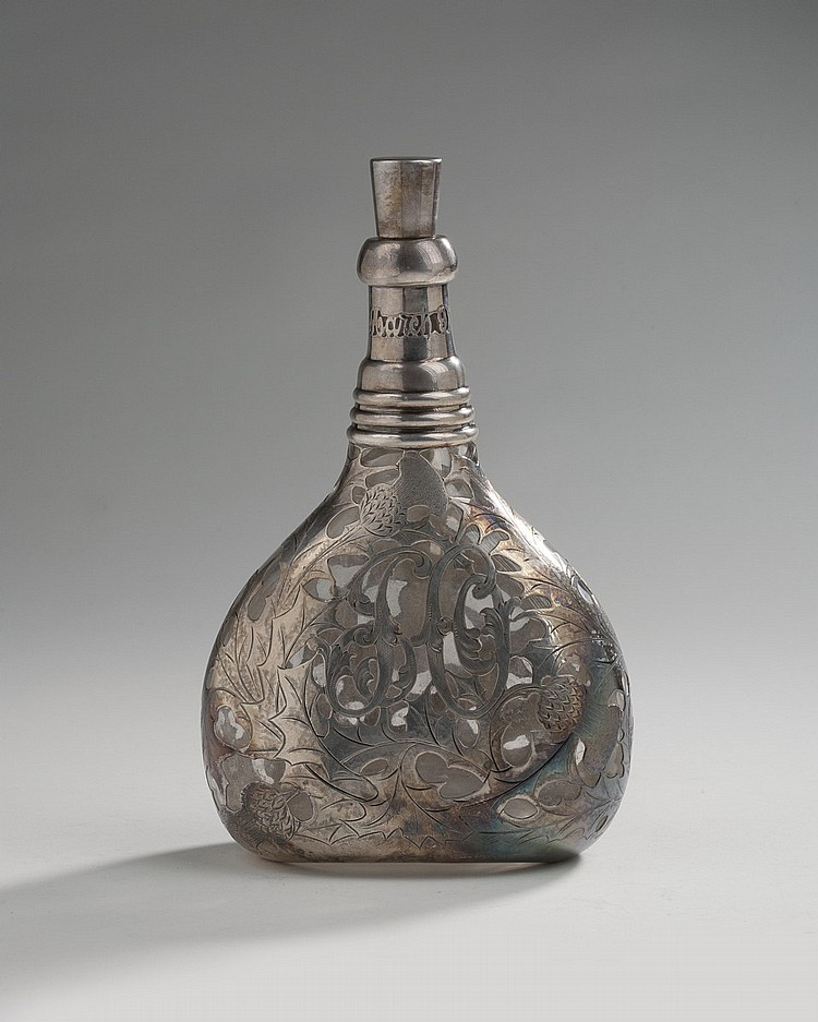 AMERICAN SILVER-OVERLAID GLASS DECANTER AND STOPPER, GORHAM MFG. CO., LATE NINETEENTH CENTURY.