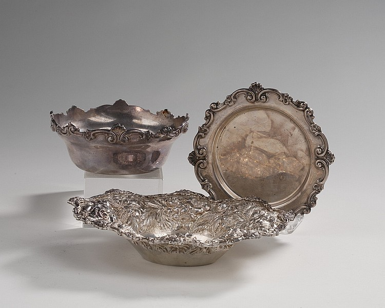 BALTIMORE SILVER BON BON DISH, THE STIEFF CO., 1950; AND A SILVER MAYONAISE BOWL AND STAND.