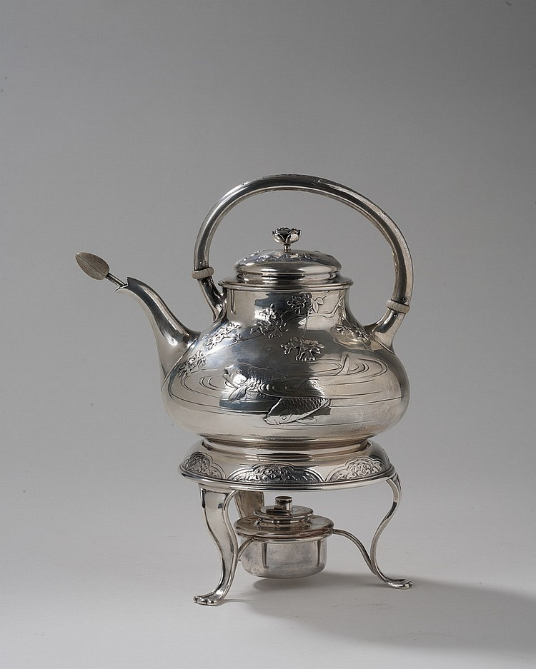 AMERICAN SILVER JAPANESQUE HOT WATER KETTLE ON LAMPSTAND, GORHAM MFG. CO., 1897.