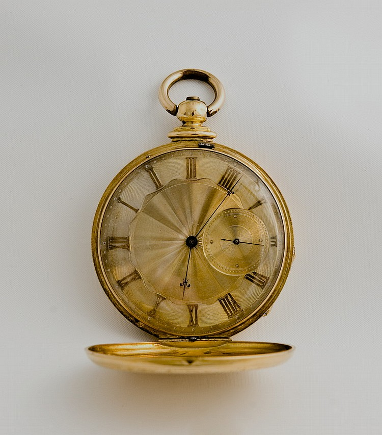 GOLD HUNTER CASE POCKET WATCH DEPICTING A WOMAN RIDING SIDESADDLE.