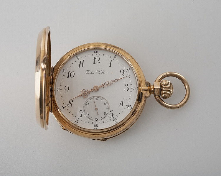 18K GOLD HUNTER CASE POCKET WATCH, THEODORE B. STARR.