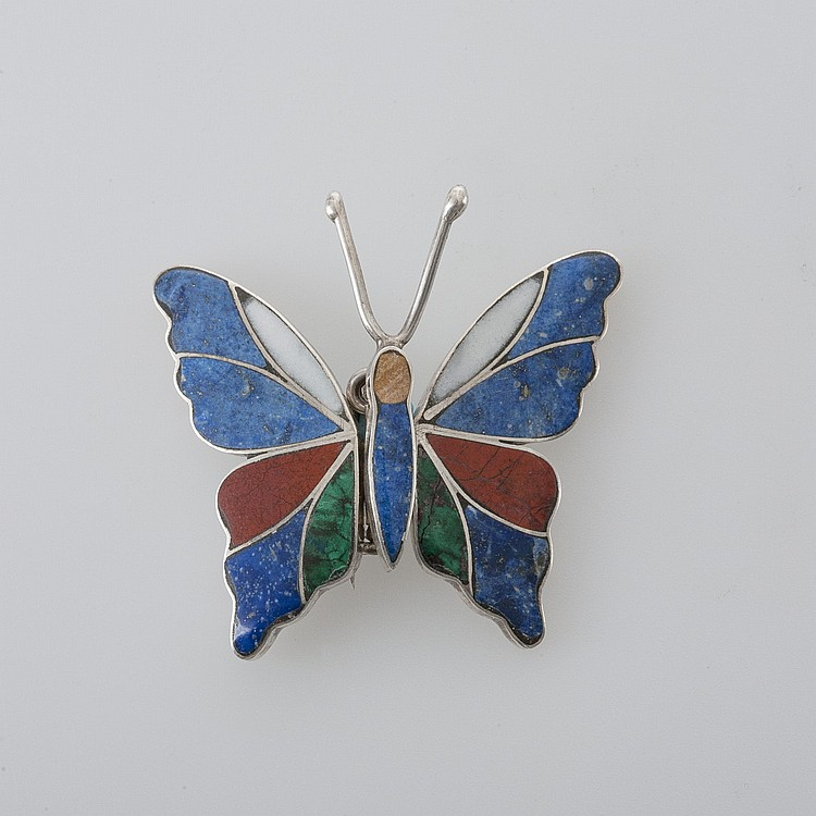LADY'S BUTTERFLY-SHAPED PIN COMPRISED OF MULTI-COLORED STONES.