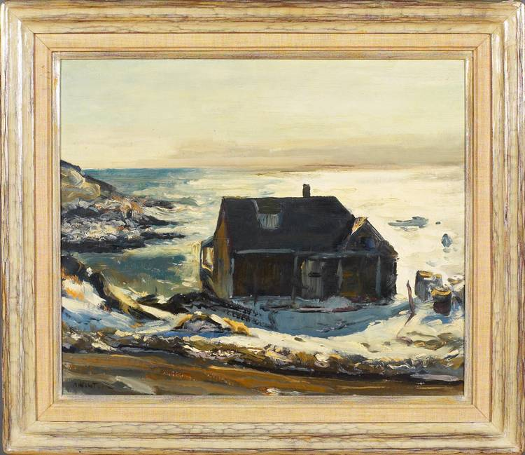 ANDREW WINTER (AMERICAN 1893-1958). MONHEGAN HARBOR IN WINTER.