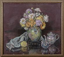 JOYCE PRICE VARNEY (AMERICAN, ACT. MID-TWENTIETH CENTURY). FLORAL STILL-LIFE WITH DRAGONFLY VASE.