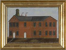 AMERICAN FOLK ART PAINTING OF A RED BRICK SCHOOLHOUSE, NINETEENTH CENTURY.