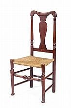 NEW ENGLAND COUNTRY QUEEN ANNE SIDE CHAIR IN RED PAINT.