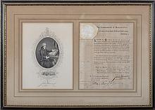JOHN HANCOCK, GOVERNOR OF MASSACHUSETTS. SIGNED APPOINTMENT FOR PHILIP CURTIS, JR. OF SHARON, BOSTON, 1 APRIL 1783.