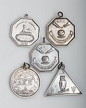 HARVARD. THREE HASTY PUDDING CLUB OCTAGONAL MEDALS, A DEKES CLUB CIRCULAR MEDAL AND A TRIANGULAR OWL CLUB MEDAL.