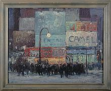 CITYSCAPE OF TIMES SQUARE, NEW YORK. ATTRIBUTED TO GEORGE A. RENOUARD (AMERICAN 1885-1954).