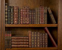 COLLECTION OF LEATHER-BOUND LITERARY, POETICAL, AND OTHER WORKS INCLUDING DICKENS, SHAKESPEARE, GAUTIER, DE LAMARTINE AND OTHERS.