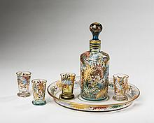 LUDWIG MOSER & SONS CORDIAL SET ENAMELLED WITH INSECTS AND BERRIED FRONDS, KARLSBAD, CIRCA 1885.