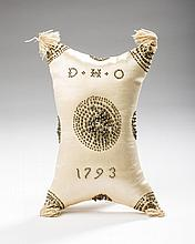 DIMINUTIVE MASSACHUSETTS BEADWORK AND SATIN CHRISTENING PILLOW FOR DAVID H. OSGOOD, BOSTON, DATED 1793.