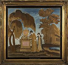 PHILADELPHIA SILK NEEDLEWORK MOURNING PICTURE