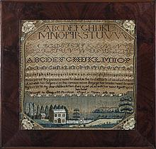 PLYMOUTH, MASSACHUSETTS NEEDLEWORK SAMPLER WORKED BY EMILY M. STRICKLAND, AGED 11 YEARS, A.D. 1825.