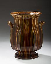 BENNINGTON FLINT ENAMEL 'SCALLOPED RIB' PATTERN SLOP JAR, 1849-58.
