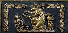 CONTINENTAL NEOCLASSICAL PAINTED AND GILT TERRACOTTA ARCHITECTURAL PANEL.
