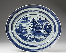 CHINESE EXPORT PORCELAIN BLUE AND WHITE 'NANKING' OVAL PLATTER, NINETEENTH CENTURY.