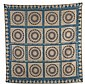 EARLY MARINER'S COMPASS QUILT WITH SIXTEEN SQUARES AND COPPER PLATE BLUE GRID.