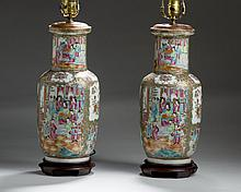 PAIR OF CHINESE EXPORT PORCELAIN 'ROSE MEDALLION' ROULEAU VASES.