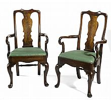 PAIR OF QUEEN ANNE STYLE WALNUT ARMCHAIRS WITH SHEPHERD'S-CROOK ARMS.